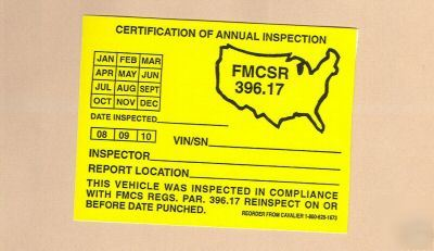 Dot federal annual vehicle inspection stickers fmcsr