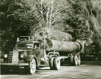 Mack eh/eq logging trucks c.1938 photo, pacific nw