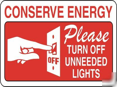 Large Metal Safety Sign Please Conserve Energy 1465