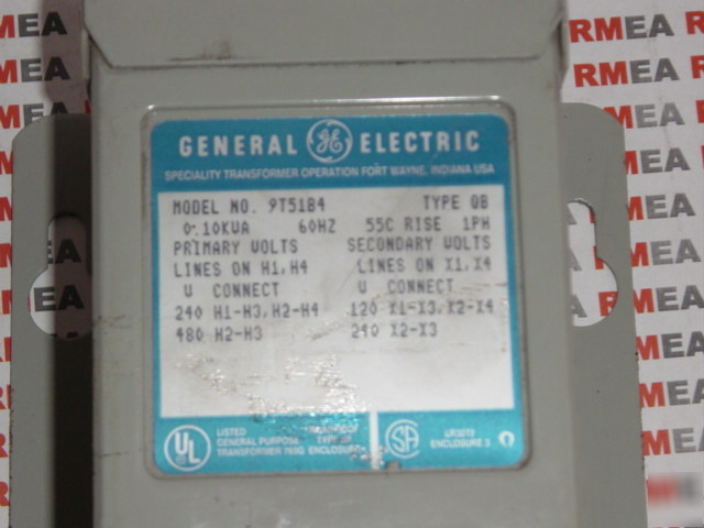 Ge Transformer 9t51b4 0 1 Kva 240 480 120 240 Volts