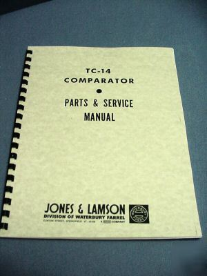 Jones & lamson tc-14 comparator – manual