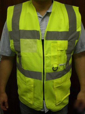 Hi vis viz 2 bands yellow executive vest waistcoat -2XL
